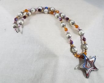 Glass Beads,Pendant,Necklace,handmade,jewelry,glass pendant,starfish,starfish pendant,starfish jewelry,beach,ocean,tropical,cruise,exotic
