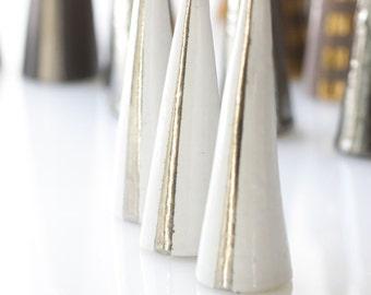 Modern Ceramic Ring Cone Holder Storage Jewelry Organization Display: White Silver Stripe