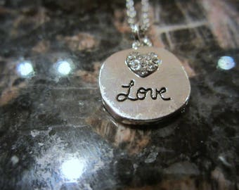 Love Charm Pendant Necklace - Jewelry - Hypo Allergenic Necklace - Love Charm Necklace - Gift For Her - Holiday Christmas Gift -  Adjustable