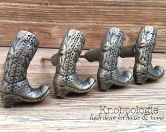 SET OF 4 -Cowboy Boot Cast Iron Knobs - Cowgirl Boots Drawer Pulls - Western Rustic Decor - Cowboy Nursery Theme Decorative Knobs
