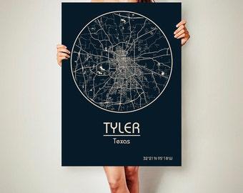 TYLER Texas CANVAS Map Tyler Texas Poster City Map Tyler Texas Art Print Tyler Texas