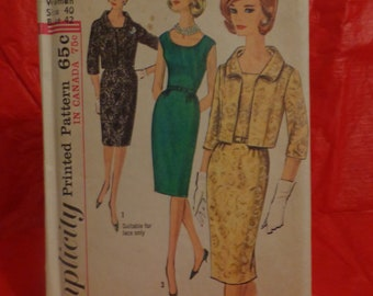 Vintage Simplicity Pattern 5722-One Piece Dress and Jacket