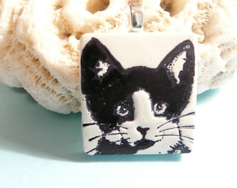 Tuxedo Cat Pendant or Necklace, Cute Cat Jewelry, Cat Lover Gift, Black and White Cat, Kitty Face, Handmade Polymer Clay