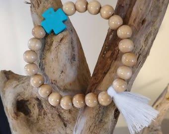 Howlite Turquoise TAHAA wood bracelet