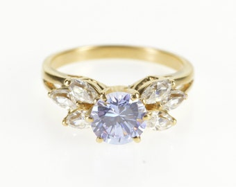 14K Round Purple Cubic Zirconia Marquise Accent Ring Size 6.75 Yellow Gold