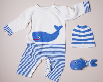 Organic Whale One-Piece Romper Baby Gift Set