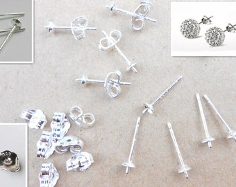 5 pairs Sterling Silver Ear Pins for Stud Earrings, Earring posts, Sterling Silver Earrings Posts, USA Seller C385