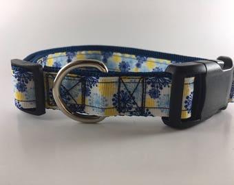 Blue and Yellow Daffodil Dog Collar/Leash