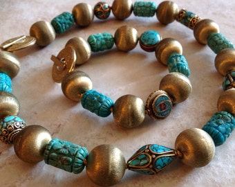 Turquoise Tibetan Beads Jewelry Set