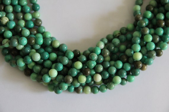 """Green Grass Agate 8mm smooth round beads 16"""" length strand"""