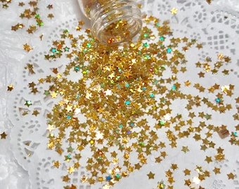 Solvent Resistant Glitter, GOLD HOLOGRAPHIC STARS Glitter, Nail Glitter, Craft Glitter, Sequins