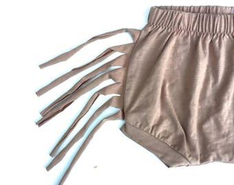 Fringe Shorts-organic tan