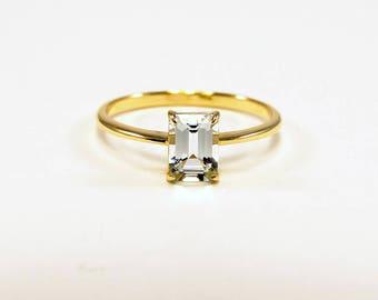 aquamarine ring 14K gold aquamarine ring March Birthstone Ring aquamarine ring 14k gold ring size 3 4 5 6 7 8 9 10 11 12 13