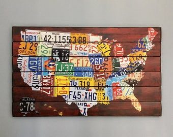 License Plate Map Wooden Wall Art, Wood License Plate Map Art, US Map, Map Of the USA, Large Map, Wood Art, USA Wall Art, License Plate Art