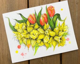 Daffodils & Tulips - Original Ink Creation
