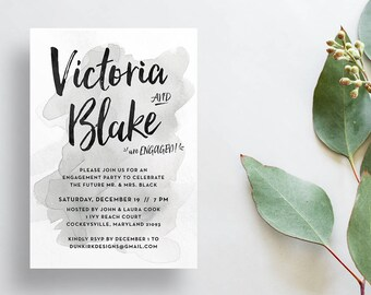 Watercolor Splash Engagement Party Invites / Gray Watercolor / Hand Lettering / Semi-Custom Party Shower Invites / Printed Invitations