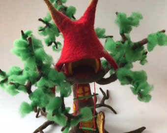 Tree  House. Hand Felted.Waldorf. Fairy house. Wet Felted.Waldorf.