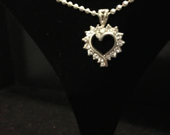 CZ heart pendant with chain in silver