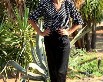 Vintage PANTS//black pants high waist//1980 trouser//1980s pants//woman PANTS