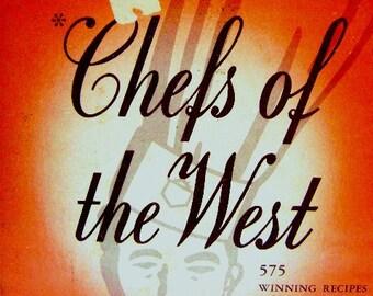 Vintage Cookbook, Chefs of the West, Man's Cookbook, Amazing Illustrations, Sunset, Western Man, Kitchen, Orange, USA Cooking Contest