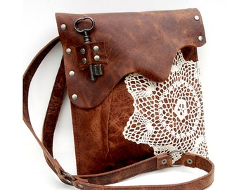 Leather Boho Messenger Bag with Crochet Doily and Antique Key - Medium One Of A Kind - MADE TO ORDER