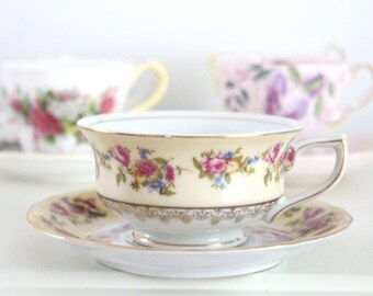 TEA CUP, Vintage Porcelain Tea Cup and Saucer by Gold Castle, Replacement China, Gifts for Her