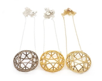 Faceted Round Necklace // 3D Printed Geometric Contemporary Jewelry // LanaBetty // Brass Steel Gold