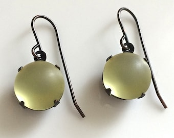 Vintage Look Earrings  Yellow Glass Earrings  Small Dangle Earrings  Boho Earrings  Vintage Glass Earrings  Gypsy Dangles