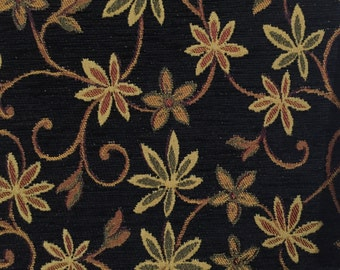 Black Vining Floral - Upholstery Fabric by the Yard