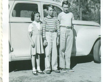 1951 Siblings Brothers Sister Standing With Car Kids 50s Vintage Photograph Black White Photo