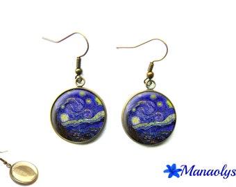 Van gogh starry night earrings, painting, art, glass, Starry Night earrings 3171 cabochons