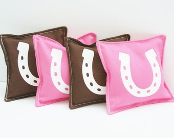 Set of 4 Washable Bean Bags - Pony Horseshoe - Cowboy or Western Party Favors - Bean Bag Toss Game - Girls - Pink and Brown Cowgirl Party