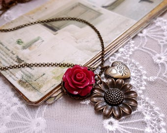 Antique inspired brass heart locket necklace Locket pendant Red rose necklace