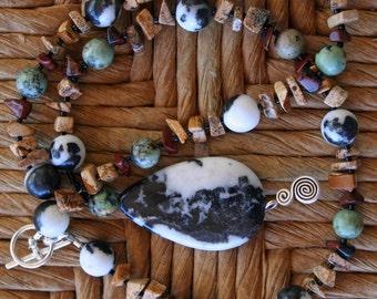SERENGETI Necklace (Zebra Jasper, African Turquoise, Mahogany Obsidian, Picture Jasper)