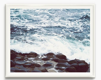 Sea prints, Sea foam Art, ocean foam photo, pebble beach Wall art, Ocean decor, Sea Photography, Ocean art, Beach home Decor, pebble poster