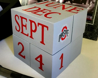 OSU ENTHUSIAST / perpetual wooden calendar / Go Bucks / gift for professor fan student teacher / Ohio State Buckeyes decal / OSU desk decor