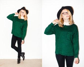Dark Forest Green Cozy Oversized Lightweight Sweater. M/L