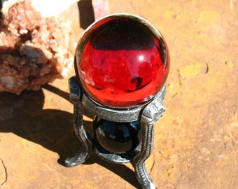 Red Glass and Black Obsidian Divination Sphere SET~Stand Included~Black and Red~Eclipse Energy~Dark Goddess