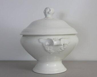 French Vintage White Ironstone Bowl, Tureen, Earthenware Ironstone, Shabby Chic