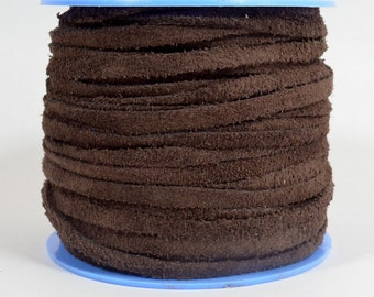4mm Flat Suede Lace - Dark Brown - 4MF-2 - Choose Your Length