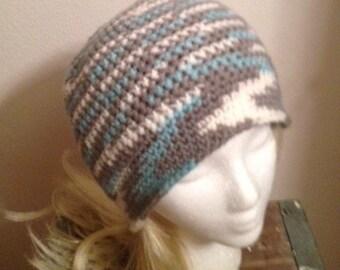 Crochet Beanie Hat Womens Teen Gray White Turquoise