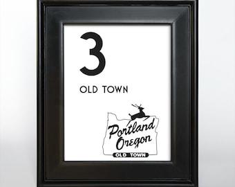 Printable Portland Oregon Table Number Reception Wedding Decor Sign Cards Landmark Icons 4x6 5x7 or 8x10 Choose Font, Color and Landmarks