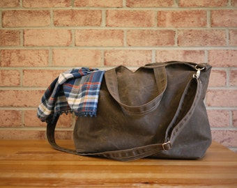 Waxed Canvas Zipper Tote Messenger - Vegan Unisex Carry All Day Bag (Made to Order)