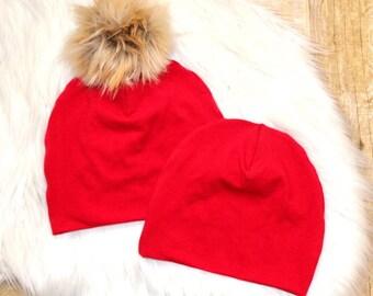 Red Pom Beanie // Valentines Beanie // Red Beanie // Toddler Beanie // Newborn Beanie // Red Baby Beanie // Pom Pom Beanie // Pom Pom Hat