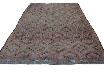 "Vintage Handwoven Wool Rug - Handmade Turkish Decorative Kilim Rug - 77""x124,5'' - Bohemian Home Decor - Antique Kilim Rug - Riot of Colors"