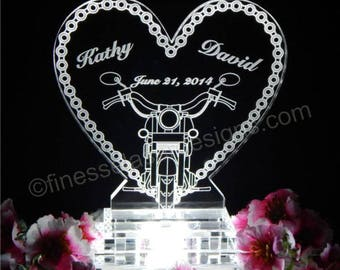 Motorcycle Chain Lighted Wedding Cake Topper Acrylice Cake top Biker Theme Personalized Engraved