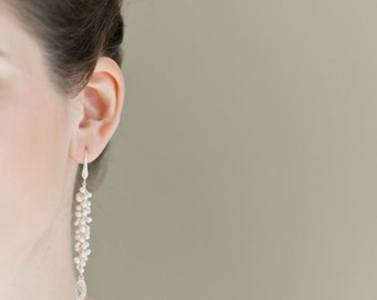 Freshwater Pearl Bridal Earrings, Long Pearl Earrings, Wedding Earrings, Bridal Jewelry