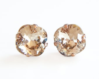 Light gold crystal earrings - square stone earrings - light silk - made with swarovski® crystals