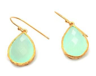 Earring 925 sterling silver earring Aqua Chalcedony,Gold Vermeil , bridal jewelry