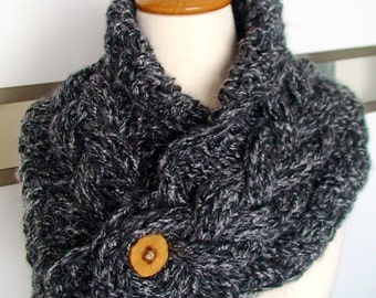 Scarf Cowl Neck Warmer Handknit Black and Grey Cabled SALE